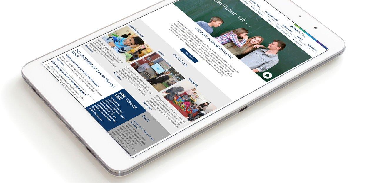Ruhrfutur Website iPad Darstellung
